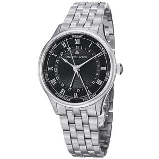 Maurice Lacriox Men's MP6507-SS002-310 'MasterPiece' Black Dial Day Date Stainless Steel Watch|https://ak1.ostkcdn.com/images/products/8915228/Maurice-Lacriox-Mens-MP6507-SS002-310-MasterPiece-Black-Dial-Day-Date-Stainless-Steel-Watch-P16132744.jpg?impolicy=medium
