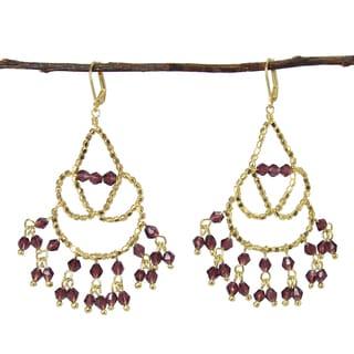Handmade Maharaja Chandelier Earrings - Plum (India)