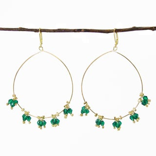 Handmade Delicate Droplet Earrings - Teal (India)