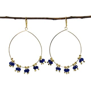 Handmade Delicate Droplet Earrings - Cobalt (India)