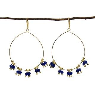 Handmade Delicate Droplet Earrings - Cobalt (India)