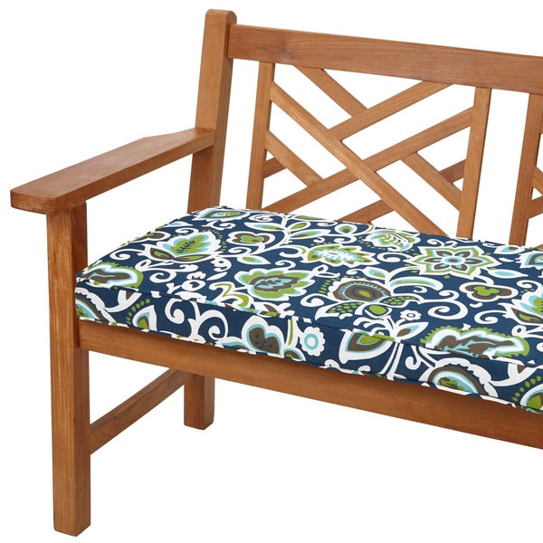 Havenside Home Butler Floral Navy 60 Inch Indoor Outdoor Corded Bench Cushion