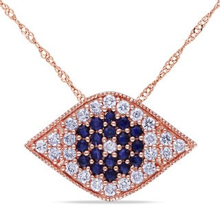 Miadora Signature Collection 14k Rose Gold Sapphire and 1/5ct TDW Diamond Necklace (G-H, SI1-SI2)