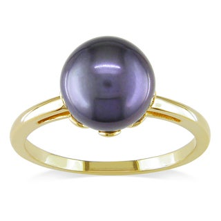 Miadora 14k Yellow Gold Black Cultured Akoya Pearl Cocktail Ring (8-8.5 mm)