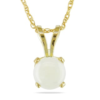 Miadora 14k Yellow Gold 1/2ct TGW Opal Solitaire Necklace