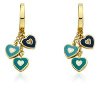 Little Miss Twin Stars Goldplated Hoop And Heart Cluster Earrings
