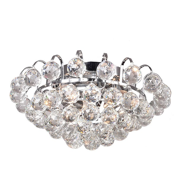 Joanne 3-light Chrome/ Crystal Ball Flush Mount