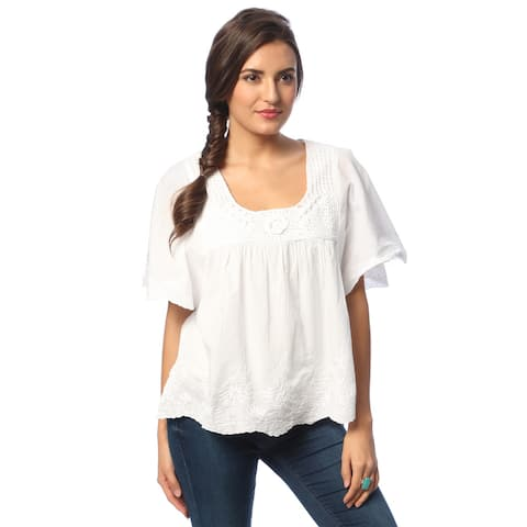 La Cera White Cotton Hand-crocheted Neckline Top