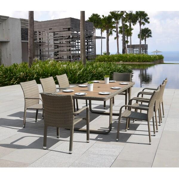 Pool Tables Table Felt Free Good Billiards S Amp Reviews: Corvus Ashena Outdoor 9-piece Tan Resin Wicker Dining Set