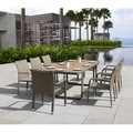 Corvus Ashena Outdoor 9-piece Tan Resin Wicker Dining Set with Poly-wood Accents