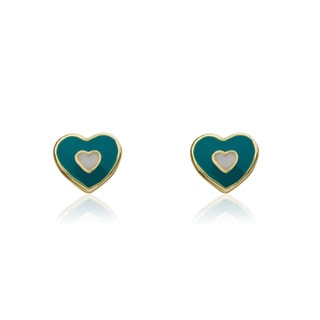 Little Miss Twin Stars 14k Goldplated Heart In Heart I Love My Jewels Stud Earrings