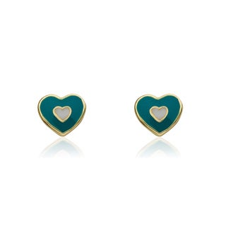 Little Miss Twin Stars Goldplated Heart In Heart I Love My Jewels Stud Earrings