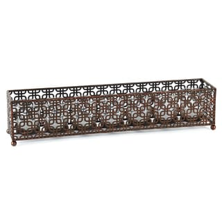 Elements 7-light Brown Linear Metal Candle Holder