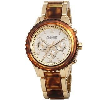 August Steiner Women's Swiss Quartz Multifunction Gold-Tone Bracelet Watch