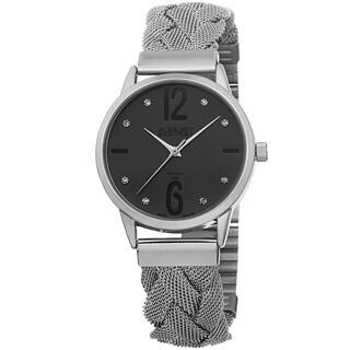 August Steiner Women's Swiss Quartz Diamond Woven Mesh Gun Bracelet Watch