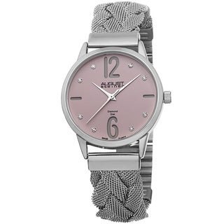 August Steiner Women's Swiss Quartz Diamond Woven Mesh Pink Bracelet Watch