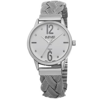 August Steiner Women's Swiss Quartz Diamond Woven Mesh White Bracelet Watch