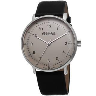 August Steiner Men's Swiss Quartz Leather Silver-Tone Strap Watch with FREE GIFT|https://ak1.ostkcdn.com/images/products/8915364/August-Steiner-Mens-Swiss-Quartz-Genuine-Leather-Strap-Watch-P16132838.jpg?impolicy=medium