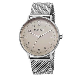 Link to August Steiner Men's Swiss Quartz Stainless Steel Mesh Silver-Tone Bracelet Watch Similar Items in Men's Watches