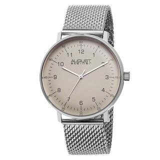 August Steiner Men's Swiss Quartz Stainless Steel Mesh Silver-Tone Bracelet Watch