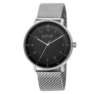 August Steiner Men's Swiss Quartz Stainless Steel Mesh Silver-Tone Bracelet Watch