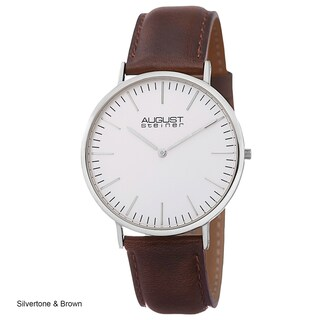 August Steiner Men's Austin Ultra-Slim Quartz Leather Rose-Tone Strap Watch (3 options available)