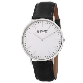 August Steiner Men's Austin Ultra-Slim Quartz Leather Rose-Tone Strap Watch