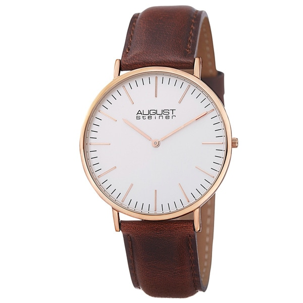 August Steiner Men's Austin Ultra-Slim Quartz Leather Rose-Tone Strap Watch