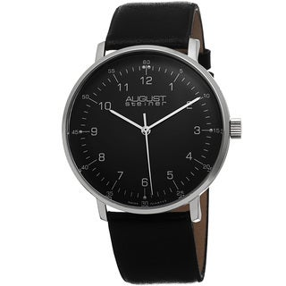 August Steiner Men's Swiss Quartz Leather Black Strap Watch