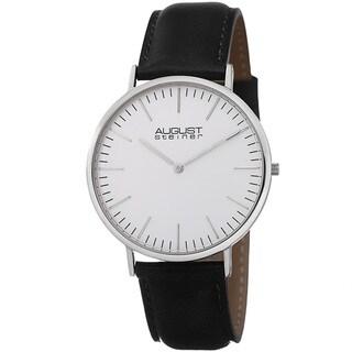 August Steiner Men's Frankford Ultra-Slim Quartz Leather Black Strap Watch