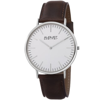 August Steiner Men's Conrad Ultra-Slim Quartz Leather Brown Strap Watch