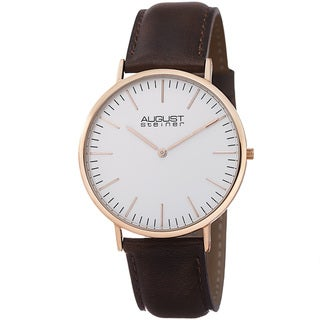 August Steiner Men's Preston Ultra-Slim Quartz Leather Rose-Tone Strap Watch