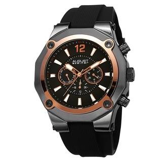 August Steiner Men's Swiss Quartz Multifunction Rose-Tone Strap Watch
