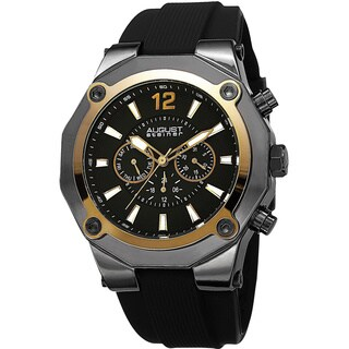 August Steiner Men's Swiss Quartz Multifunction Gold-Tone Strap Watch