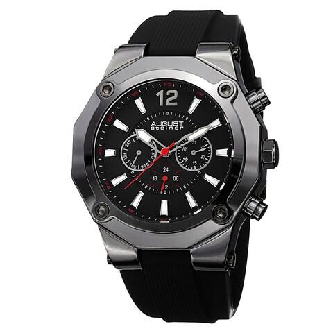August Steiner Men's Swiss Quartz Multifunction Black Strap Watch