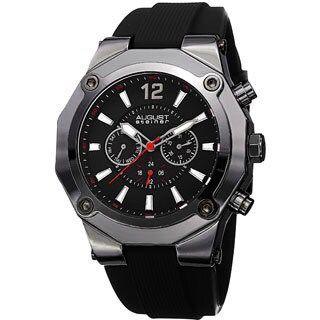 August Steiner Men's Swiss Quartz Multifunction Black Strap Watch