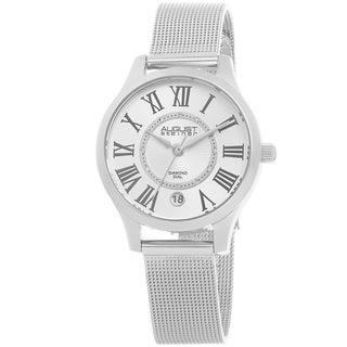 August Steiner Women's Quartz Diamond Stainless Steel Mesh Silver-Tone Bracelet Watch