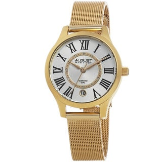 August Steiner Women's Quartz Diamond Stainless Steel Mesh Gold-Tone Bracelet Watch with FREE Bangle