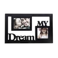 2-opening Black Wooden Wall Hanging Collage Photo Picture Frame