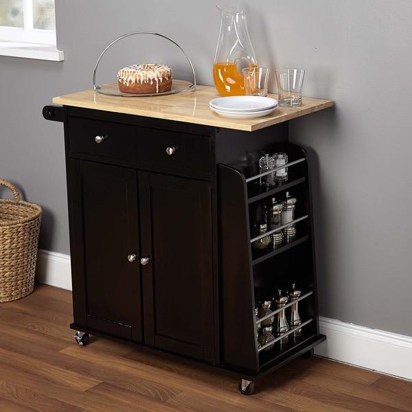 Simple Living Sonoma 2-tone Black Kitchen Cart