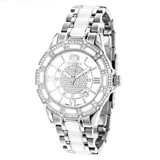 Luxurman Women's 'Galaxy' 1 1/4ct Diamond Mother of Pearl Watch