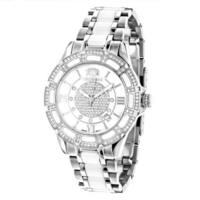 Luxurman Women's 'Galaxy' 1 1/4ct Diamond Mother of Pearl Watch