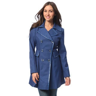 Via Spiga Women's Petite Periwinkle Double Breasted Trench Coat