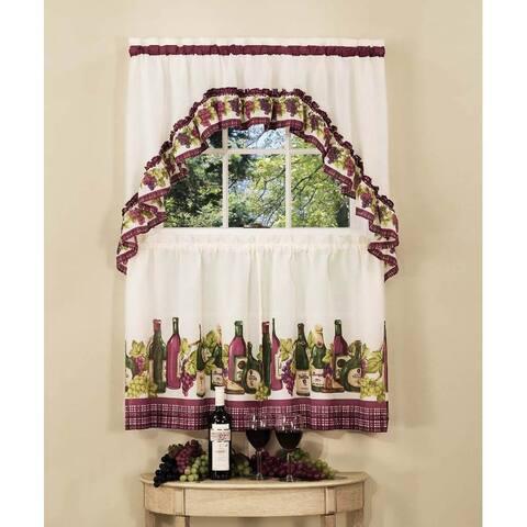 Achim Chardonnay Tier and Swag Kitchen Curtain Set
