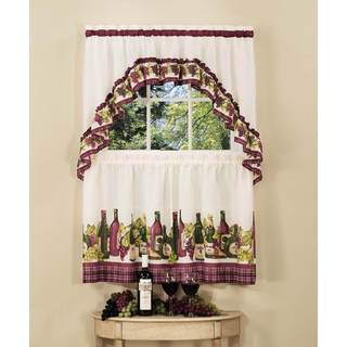 Achim Chardonnay Tier and Swag Kitchen Curtain Set