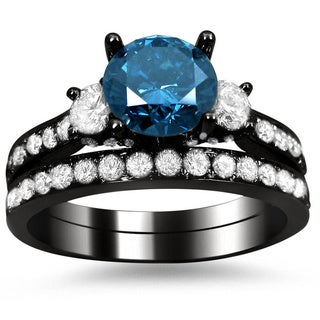 Noori 18k Black Gold 2 2/5ct Blue and White Round Diamond Bridal Ring Set (G-H, SI1-SI2)