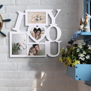 'I Love You' White 4-opening Picture Frame