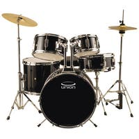 Union UJ5 Black 5-piece Junior Drum Set with Hardware, Cymbals, and Throne