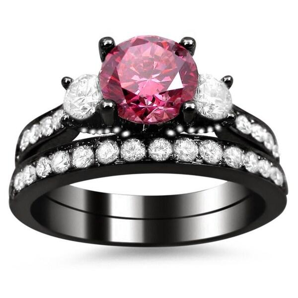Noori 18k Black Gold Certified 2 1 2ct Pink and White Round Diamond Bridal Ri