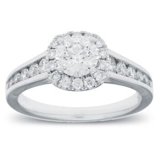 Azaro 14k White Gold 1 1/4ct TDW Round Diamond Halo Engagement Ring (G-H, SI2-I1)